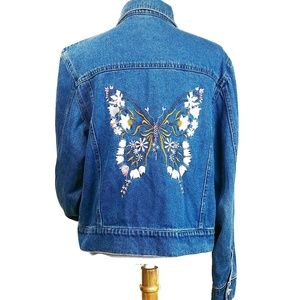 Vintage Boho Butterly  Denim Jean Jacket Medium